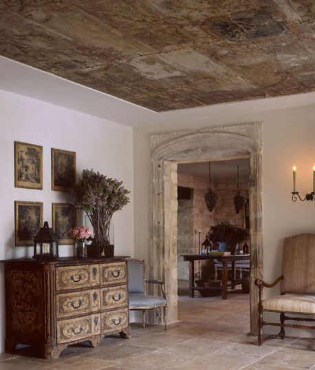 Pamela Pierce Design in a space with reclaimed materials and French limestone.