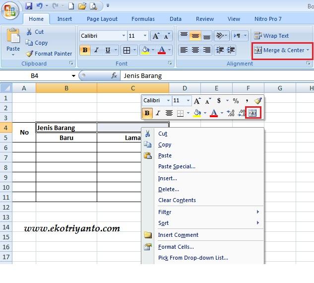 Cara Menggabungkan Dua Kolom Atau Baris Pada Ms Excel Ekotriyanto Com