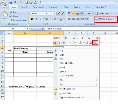 Cara Menggabungkan Dua Kolom atau Baris Pada MS Excel