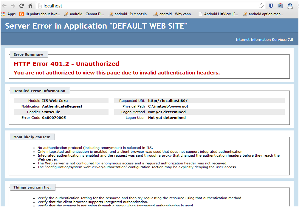 Wordpress installation error - 401.2, step 4
