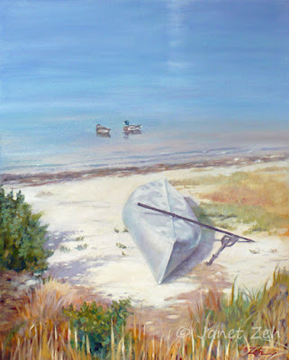 An old overturned canoe rests in the sand in this custom oil painting