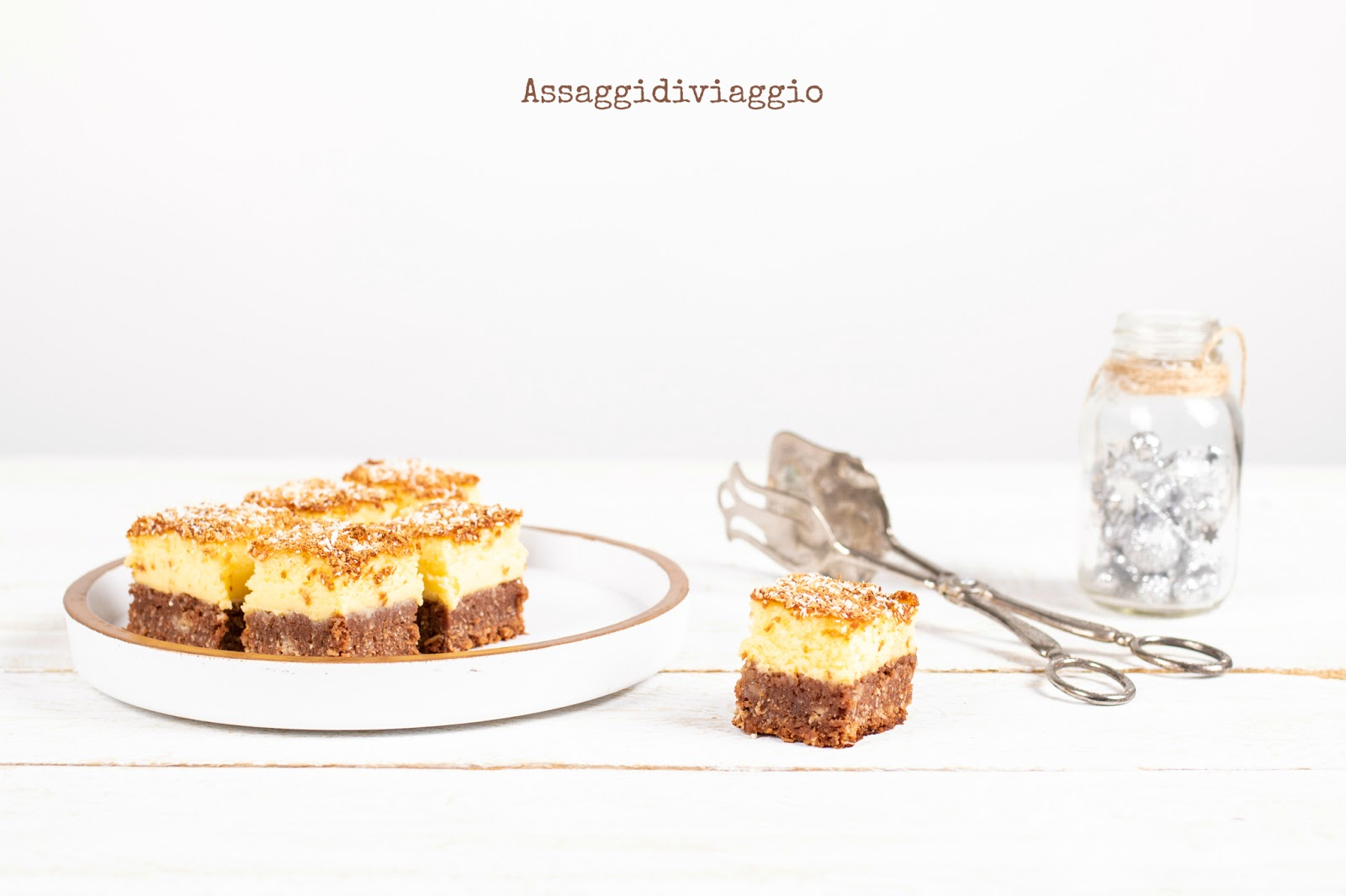 Chocolate-coconut cheesecake squares per il club del 27