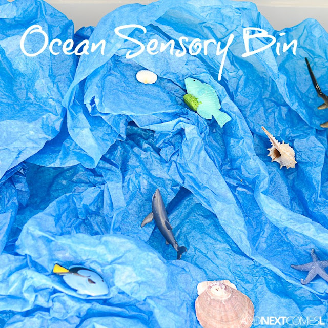 Ocean sensory bin with tissue paper for kids from And Next Comes L