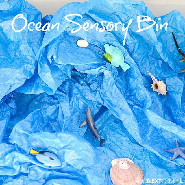 Ocean sensory bin for kids