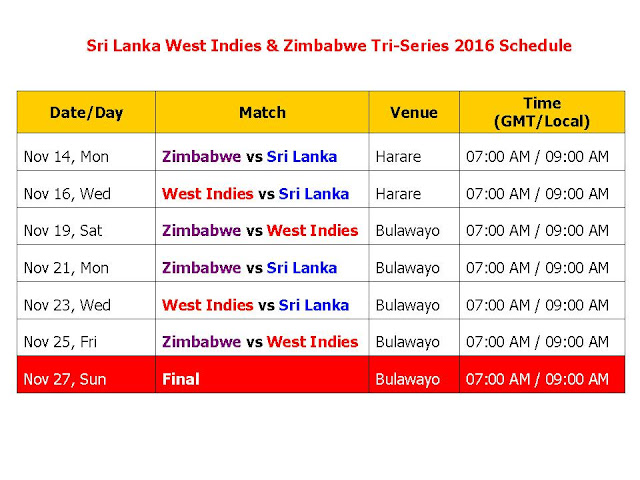 Sri Lanka Vs West Indies In Zimbabwe Tri-Series 2016,Zimbabwe vs Sri Lanka,Zimbabwe vs West Indies,tri series full schedule,odi series,cricket calendar 2016,icc cricket schedule,sri lanka west Indies & Zimbabwe,triangular series,sri lanka schedule,west indies schedule,Zimbabwe schedule,2016 cricket schedule,West Indies vs Sri Lanka 2016 schedule,Zimbabwe vs Sri Lanka 2016 schedule,Zimbabwe Tri-Series 2016 schedule,t20 cricket schedule