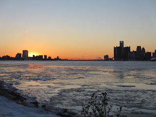 Detroit River with RenCen and Ambassador Bridge
