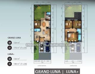 Denah Rumah Tipe LUNA Cluster ORLANDA Tahap 2