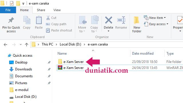 langkah instalasi server e-xam caraka