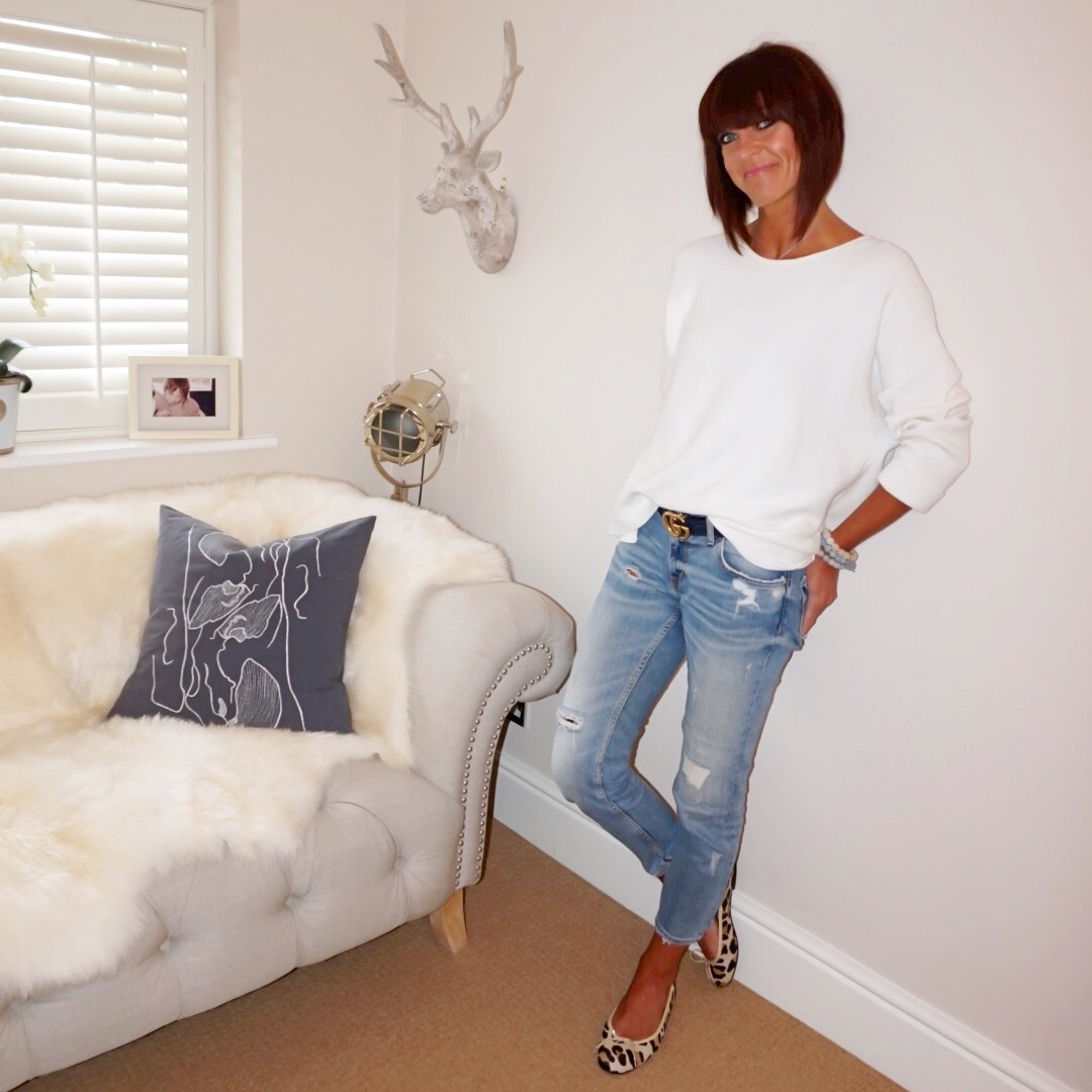 My Midlife Fashion, massimo dutti cream boxy fit jumper, zara distressed cigarette denim jeans, french sole henrietta leopard print ballet pumps, gucci logo leather belt