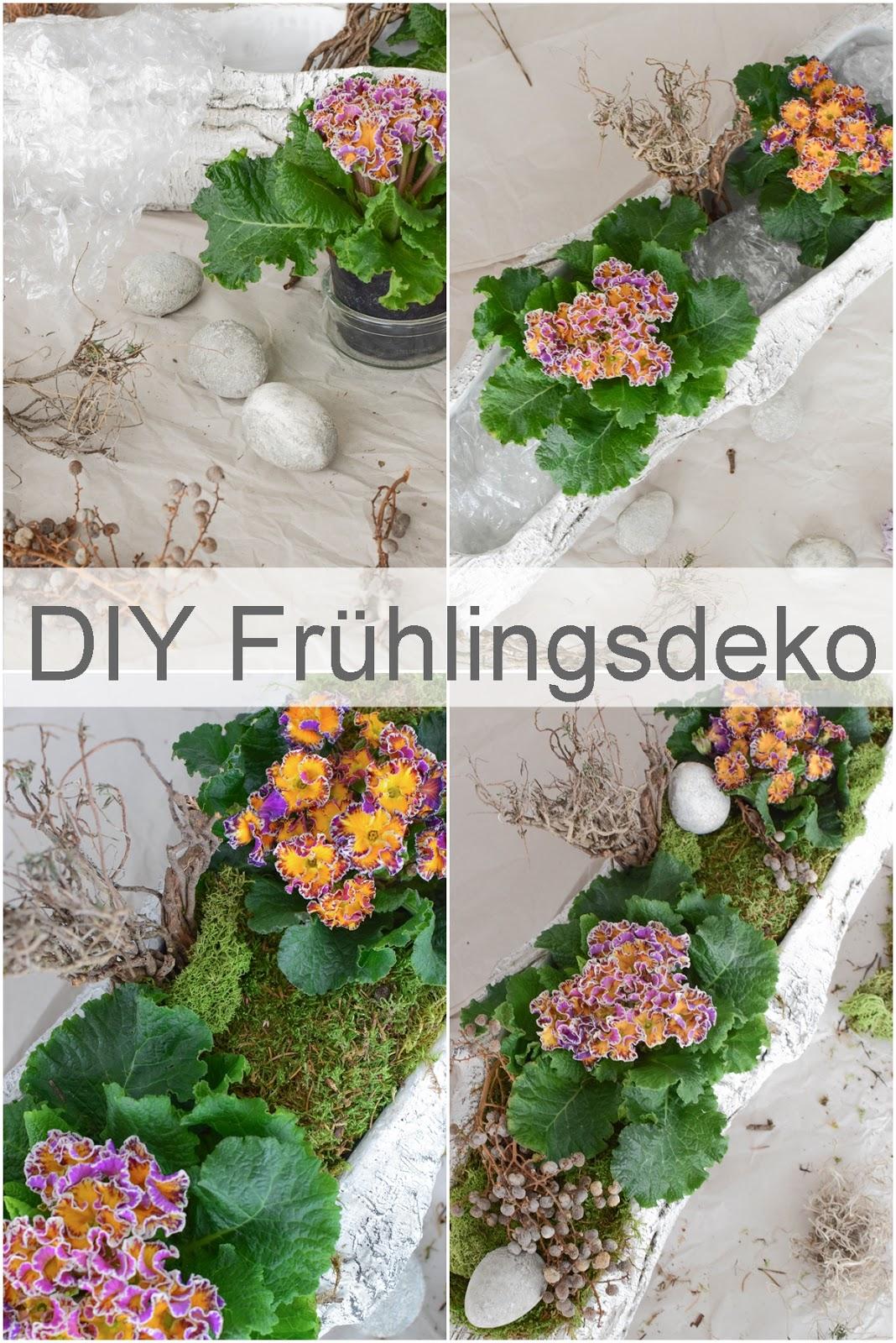 DIY Frühlingsdeko mit Primel und Moos. Natürliche Deko für den Frühling. Dekoidee