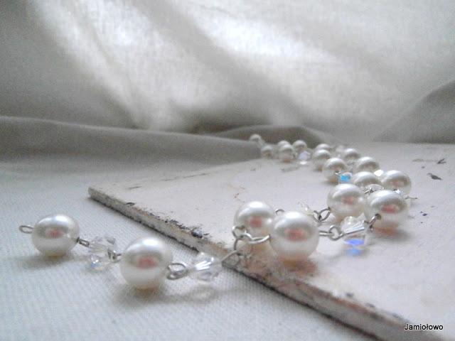 naszyjnik ze srebra i pereł ręcznie robiony