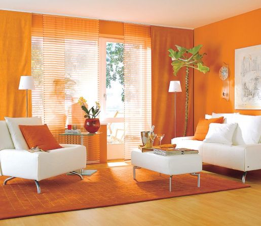 Pink And Orange Small Living Room Design With Panting Window Curtains