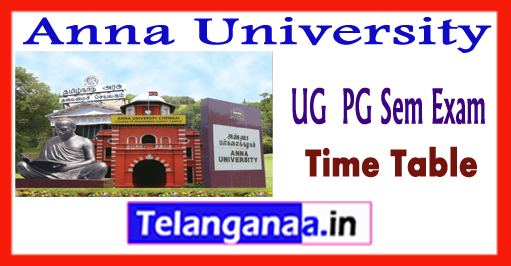 Anna University UG  PG  Exam Time Table 2018 Result