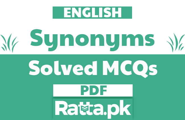 English Synonyms MCQs with Answers pdf free download