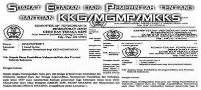 Suarat Edaran dari Pemerintah tentang bantuan KKG/MGMP/MKKS