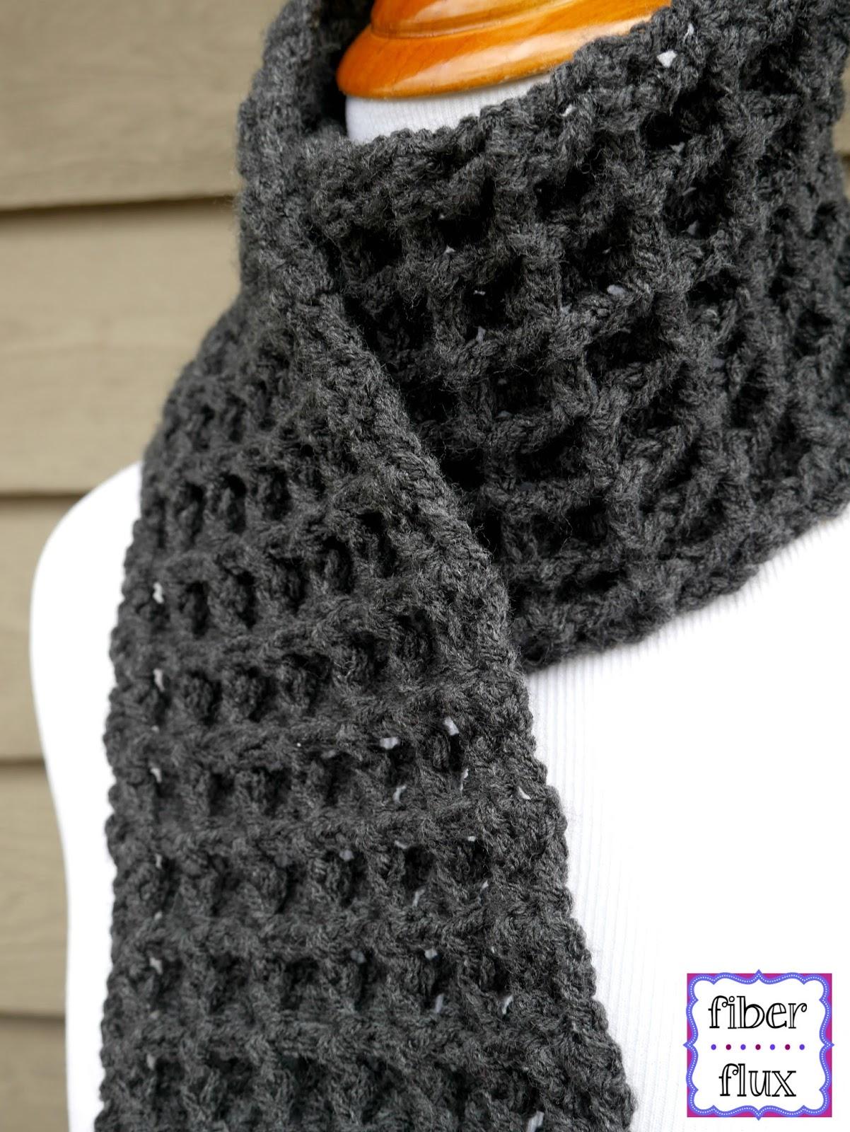 Fiber Flux: Free Crochet Pattern...Waffle Stitch Crochet Scarf!