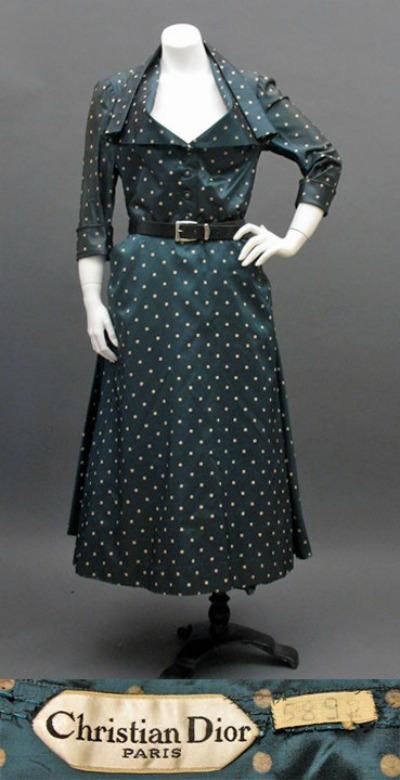 Christian Dior 1948 polka dot dress in Envol Line on mannequin