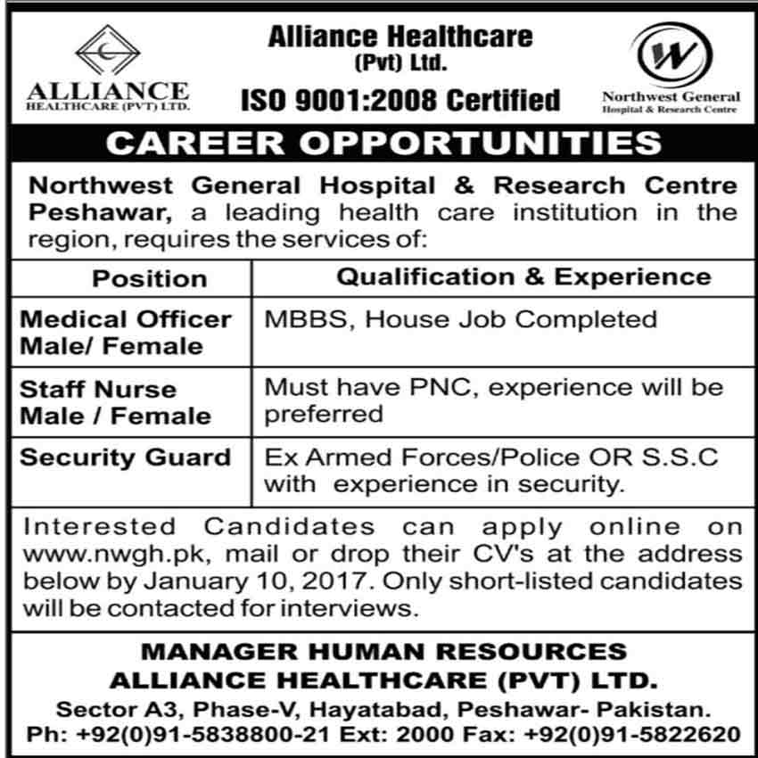 Alliance Healthcare Pvt Limited Peshawar Jobs