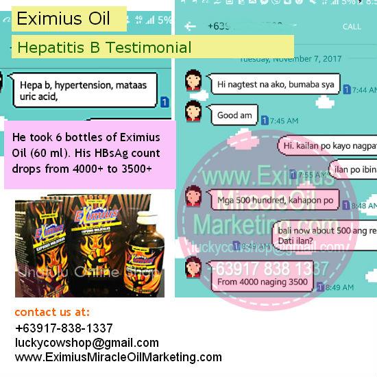 eximius oil hepatitis b cure testimonial