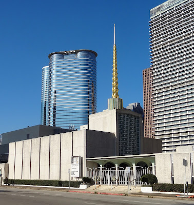 South facade of First Church of Christ with golden spike spire - Chevron Tower and Exxon (Humble) Tower