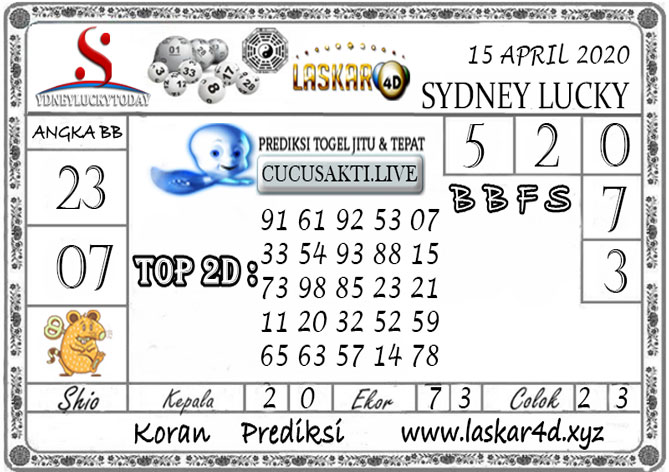 Prediksi Sydney Lucky Today LASKAR4D 15 APRIL 2020