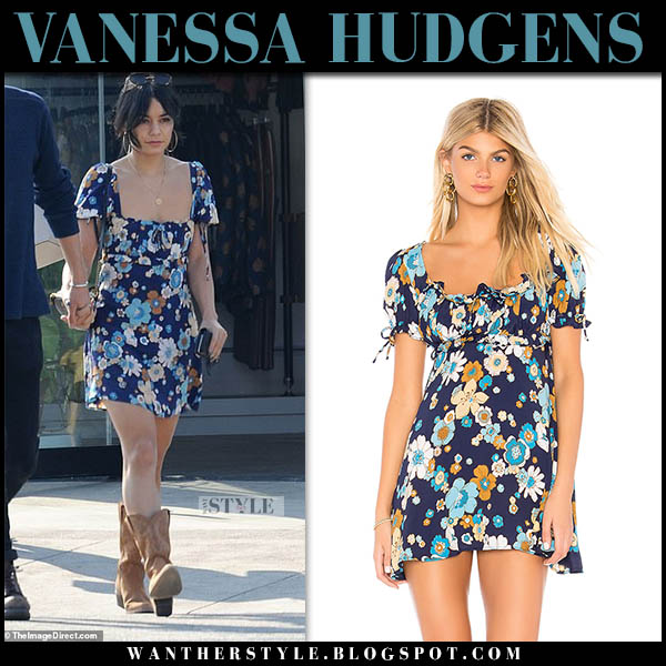 Vanessa Hudgens in blue floral print mini dress and boots celebrity street style november 11
