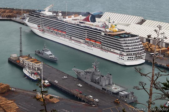 L-R: HMNZS Hawea, one of the New Zealand Navy's four inshore patrol vessels; HMNZS Wellington, a 1900-tonne offshore patrol vessel - arrriving into Napier Port in time for Art Deco week. Also in port, the Carnival Spirit, a cruise ship. photograph