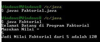 Program Faktorial mengunakan printah For Loop