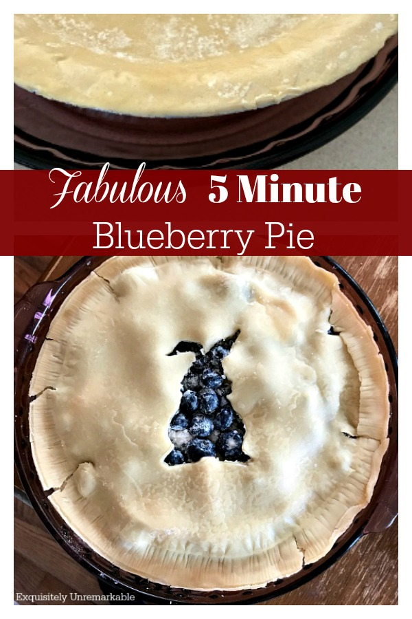 Super Easy Five Minute Blueberry Pie Recipe text over bunny crust cup out blueberry pie