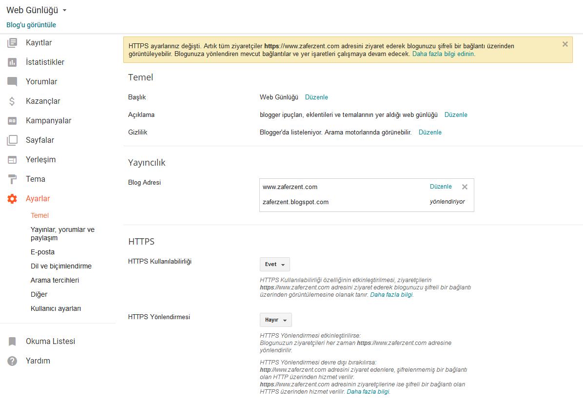 blogger ssl https ayarları adım 3