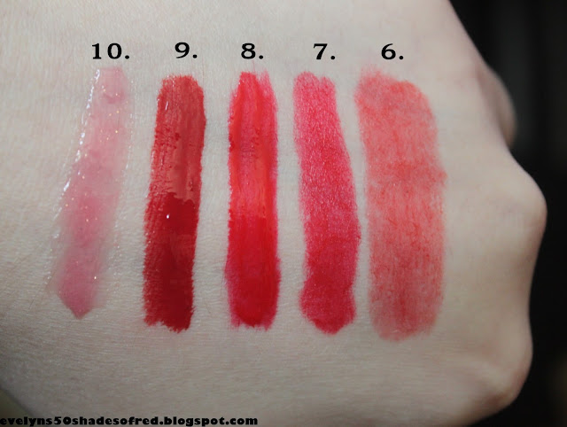 6. Revlon Romantic, 7. Lovely #1, 8. Catrice #040 Let's Red Loud!, 9. Gosh #306, 10. e.l.f.