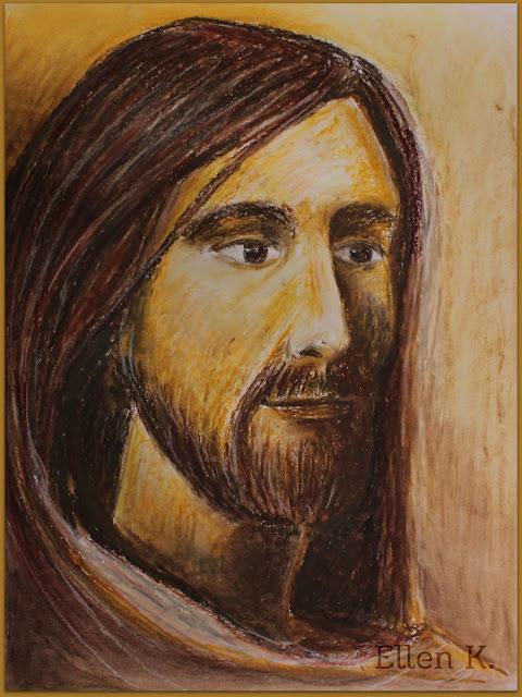 Portrait Jesus oilpastel ellen k