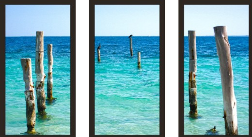 Turquoise Ocean Waters Photo Print Framed