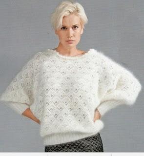 Пушистый белый пуловер из ангоры