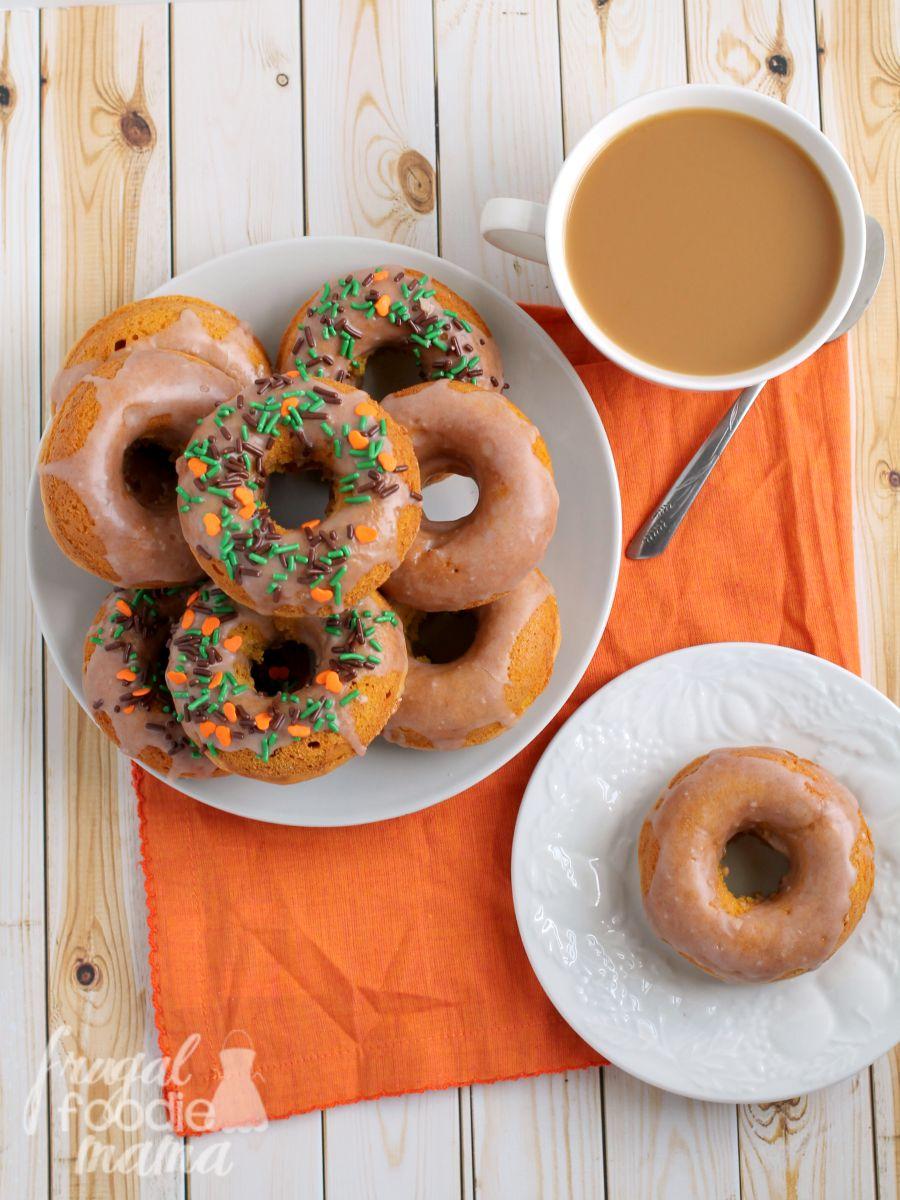 Frugal Foodie Mama Cinnamon Glazed Pumpkin Buttermilk Donuts