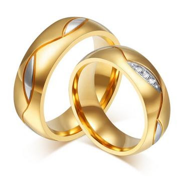 Wedding Couple's Gold Plated Band - Titanium Steel Crystal Rings