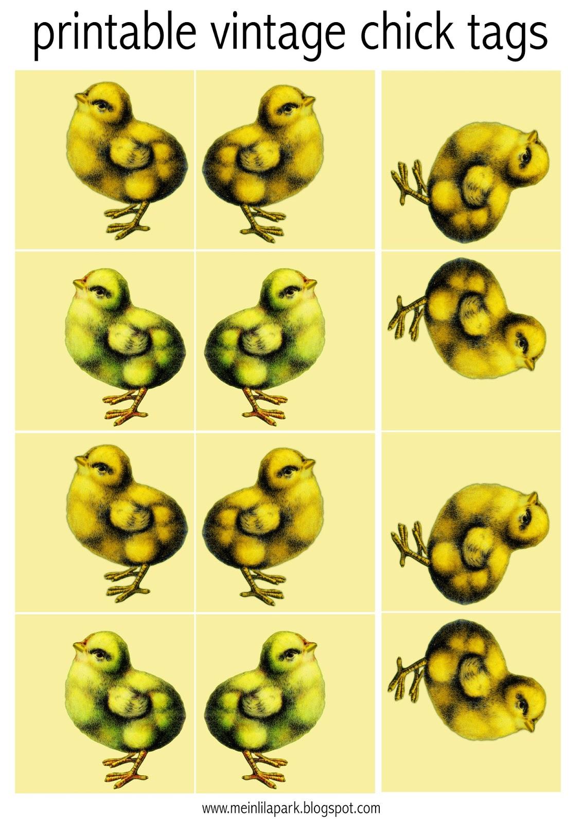 Free Printable Vintage Chick Easter Tags