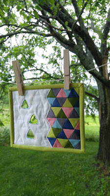 Triangle negative space mini mini quilt