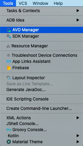 android emulator tools avd manager