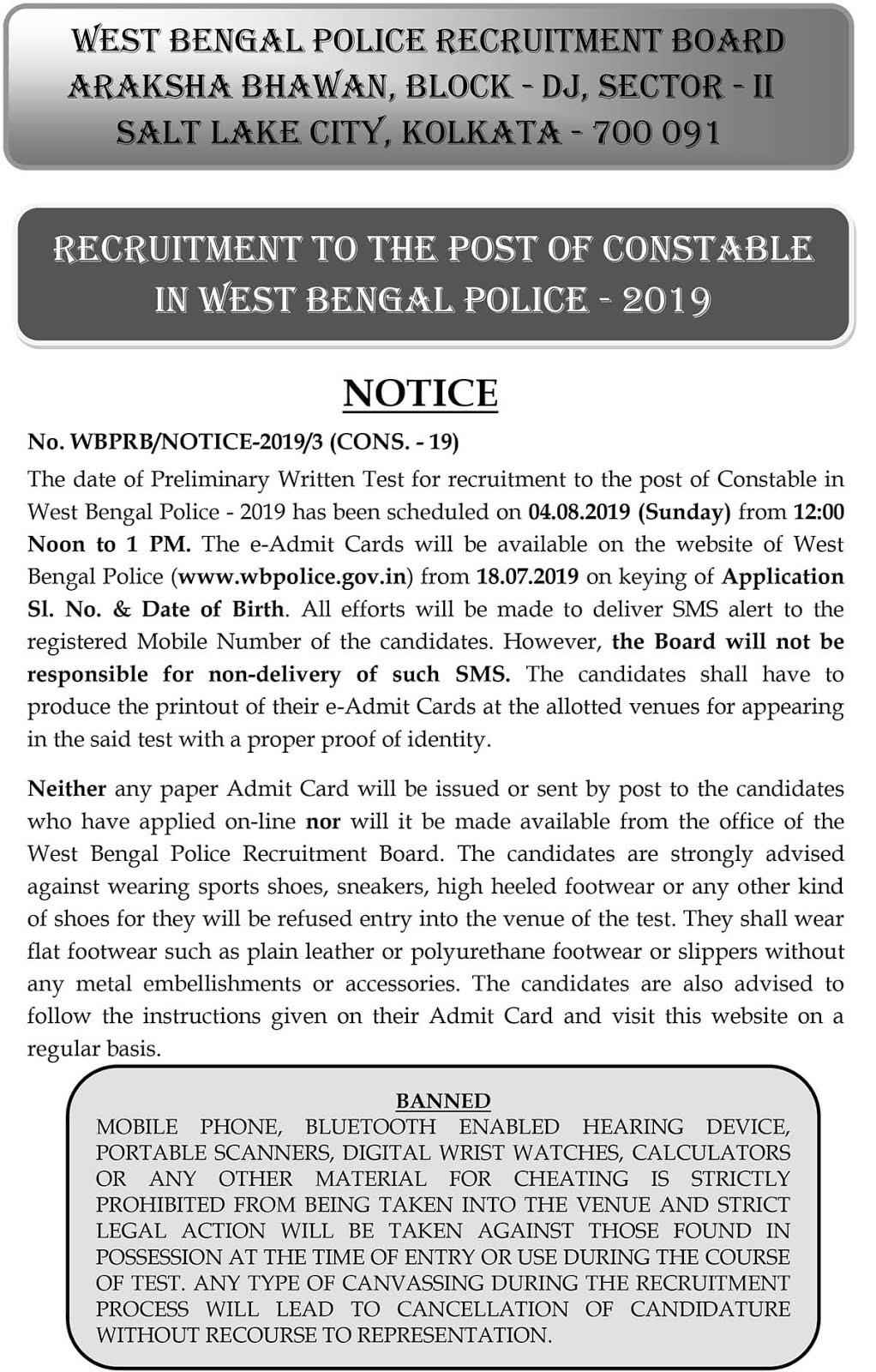 West Bengal Recruitment to the Post of Constables 2019