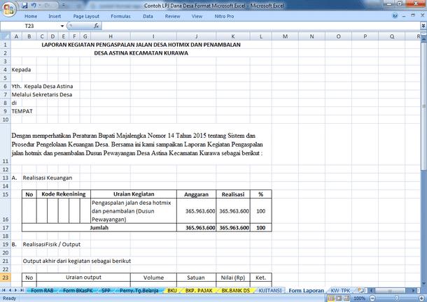 Contoh LPJ Dana Desa Format Microsoft Excel