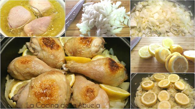 pollo guisado con limón y romero.