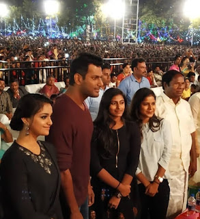 Keerthy Suresh in Black Dress with Cute and Lovely Smile with Vishal
