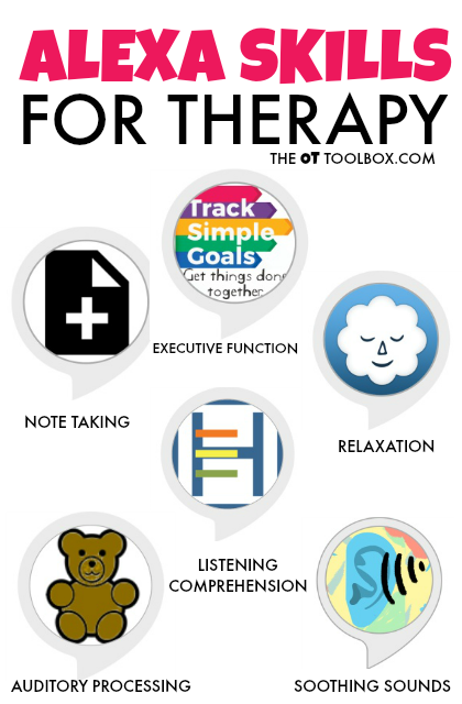 Use these Alexa skills on your Echo dot or Amazon echo device to help kids develop the skills in therapy that they need for focus, attention, independence.
