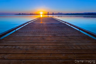 Cramer Imaging's quality landscape photograph of the American Falls Reservoir boat dock at sunrise in Idaho