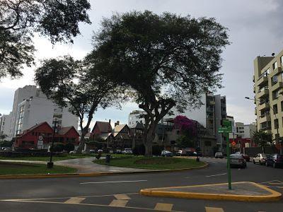 Calle Madrid con Plaza Bolognesi. Lima. Peru