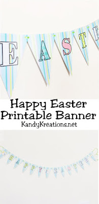 Print this free Happy Easter printable pennant banner for your Easter decorations.  The fun spring colors make it great for an Easter party decoration or as a fun Easter decoration that's quick and easy to make.