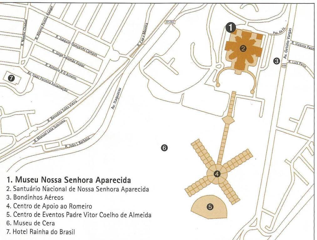 Mapa do Santuário Nacional de Aparecida