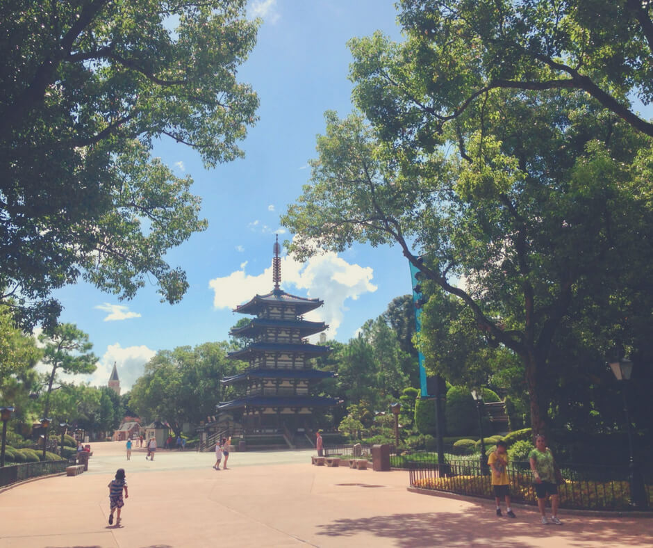 A tower in Japan in Epcot World Showcase, featuring Tepan Edo, one of the best places to eat in Walt Disney World theme parks.