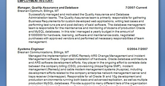 manager quality assurance and database sample resume format in word free download